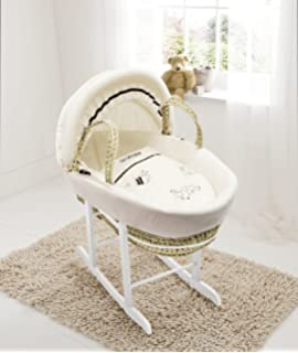 Sleep Little Owl White Palm Moses Basket and Natural Rocking Stand