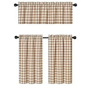 GoodGram 3 Pc. Plaid Country Chic Cotton Blend Kitchen Curtain Tier & Valance Set - Assorted Colors (Toast)