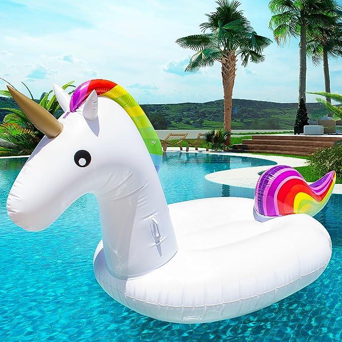Mega Flotador Unicornio Blitz⚡ | Juegos de piscina XXL | Divertido Flotador Unicornio en Formato Maxi | Juguete flotante King Size | Original flotador ...