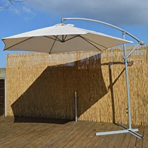 Cantilever 3m Garden Parasol Cream Fabric with Steel Frame Garden Furniture