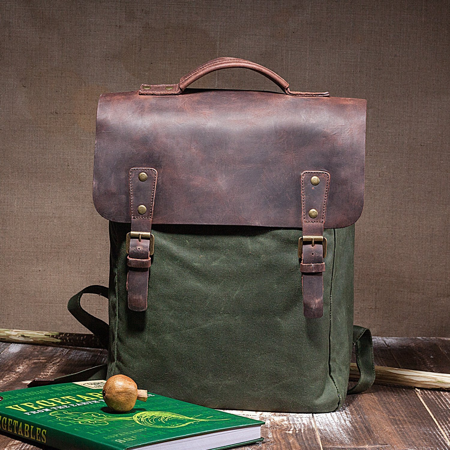 Classic Handmade Waxed Canvas Flap Backpack With Natural Leather Cover - High Quality Laptop Rucksack With Waterproof Lining For Men And Women - Old School Laptop Bag Up to 15 in