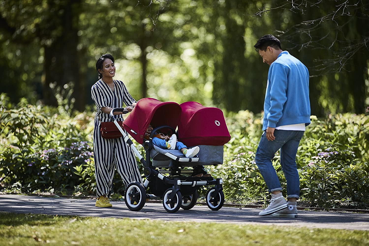 Grey Melange//Ruby Red Bugaboo Donkey2 Complete Duo Extension Set