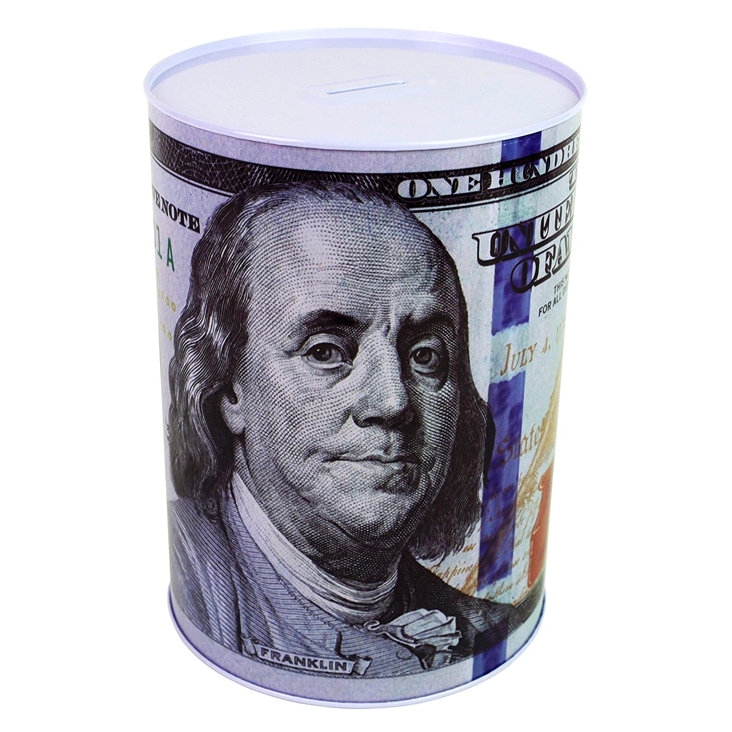 """$100 Dollar Bill Piggy Bank 8.5"""" Tall Coin Saving Money Currency Benjamin Franklin C Note Tin Can Banknote Jar by Spreezie"""