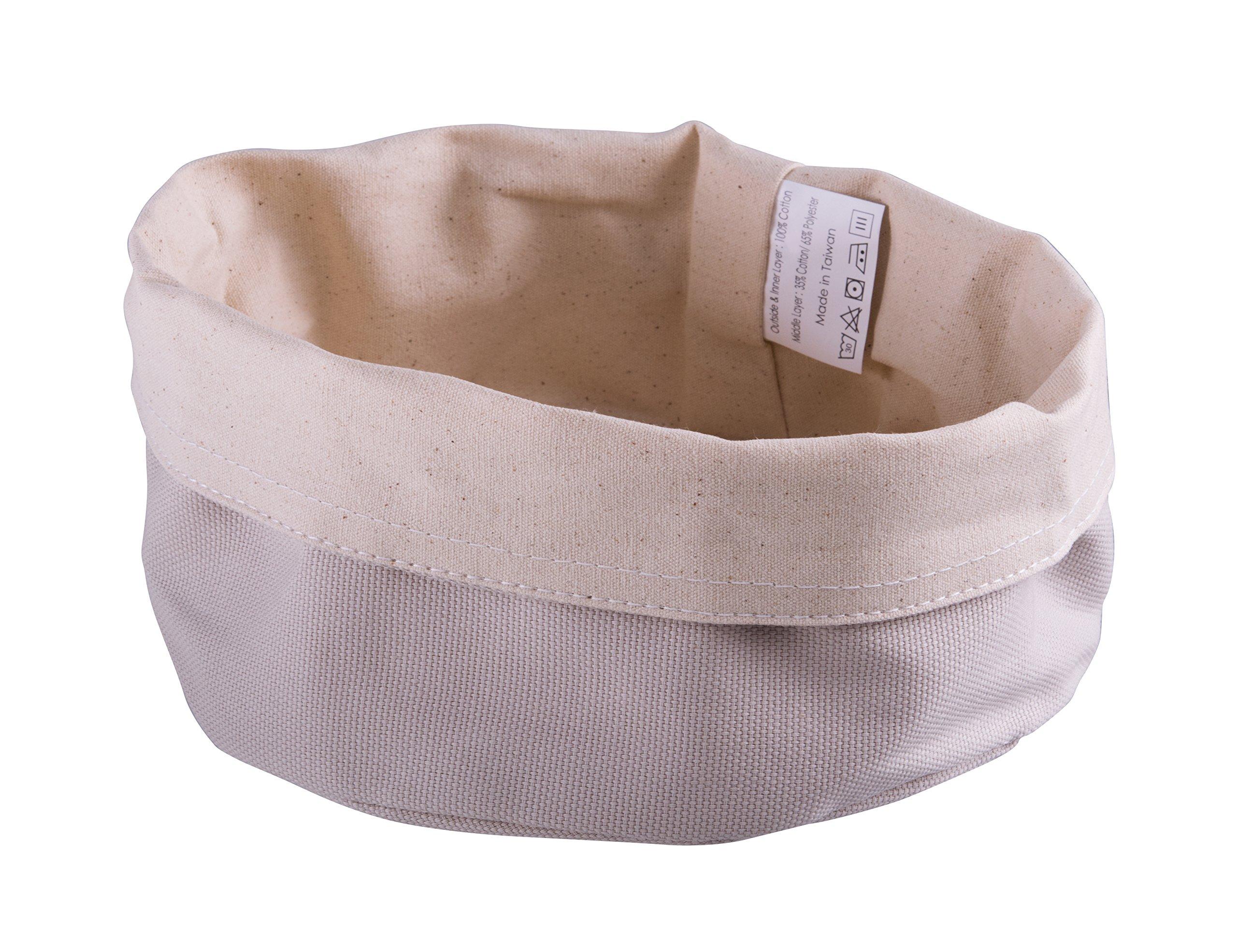 Paderno World Cuisine 42875-17 Round Canvas Bread Basket, Beige