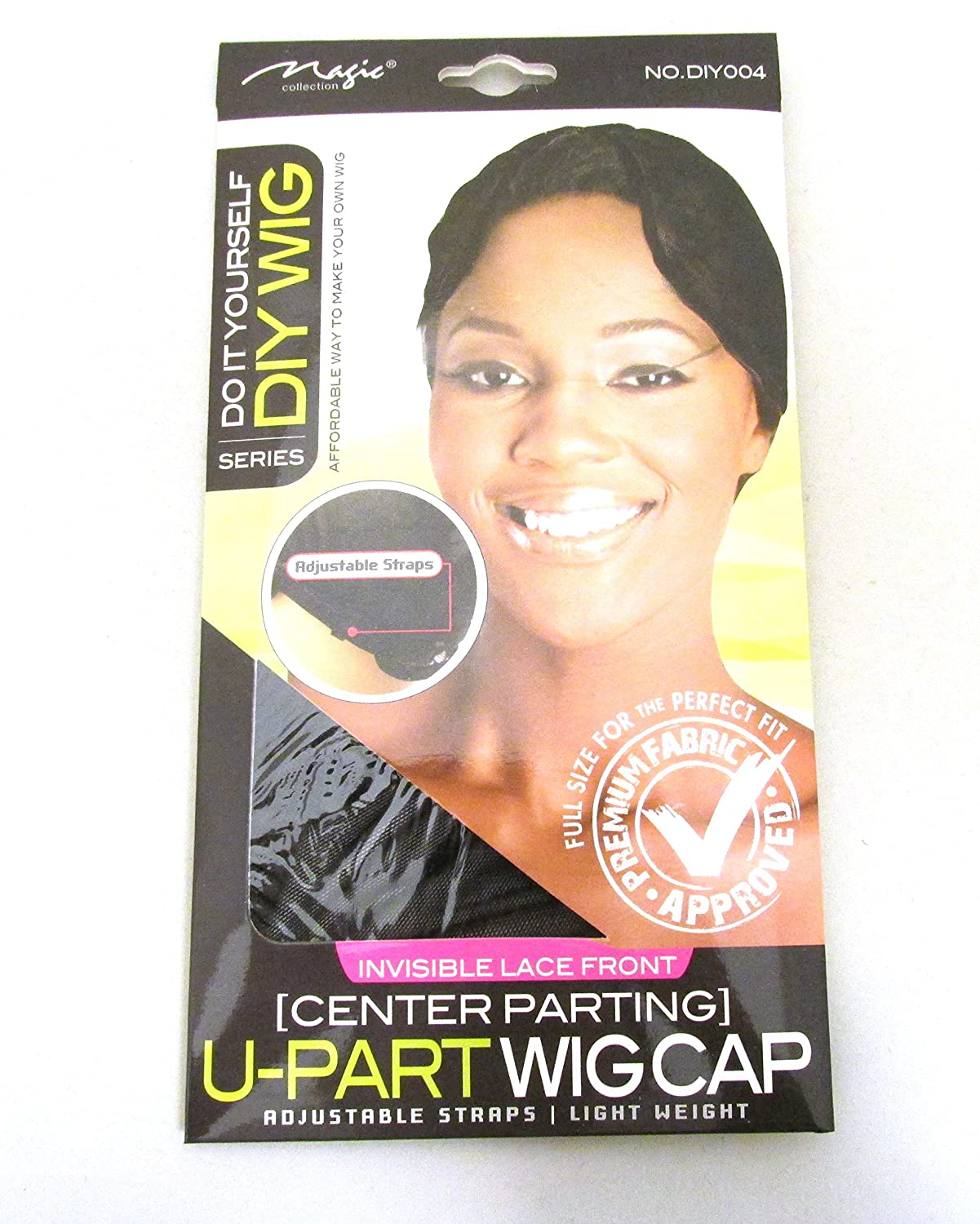 Magic Do It Yourself Invisible Lace Front (Center Parting) U-Part Wig Cap, Adjustable straps, lightweight, premium fabric, fabric, perfect fit, full size, won't fall off your head, one size fits all, breathable material, hair, hair extensions, weave, invis