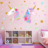 2 Sheets Large Size Unicorn Wall Decor,Removable Unicorn Wall Decals Stickers Decor for Gilrs Kids Bedroom Nursery…