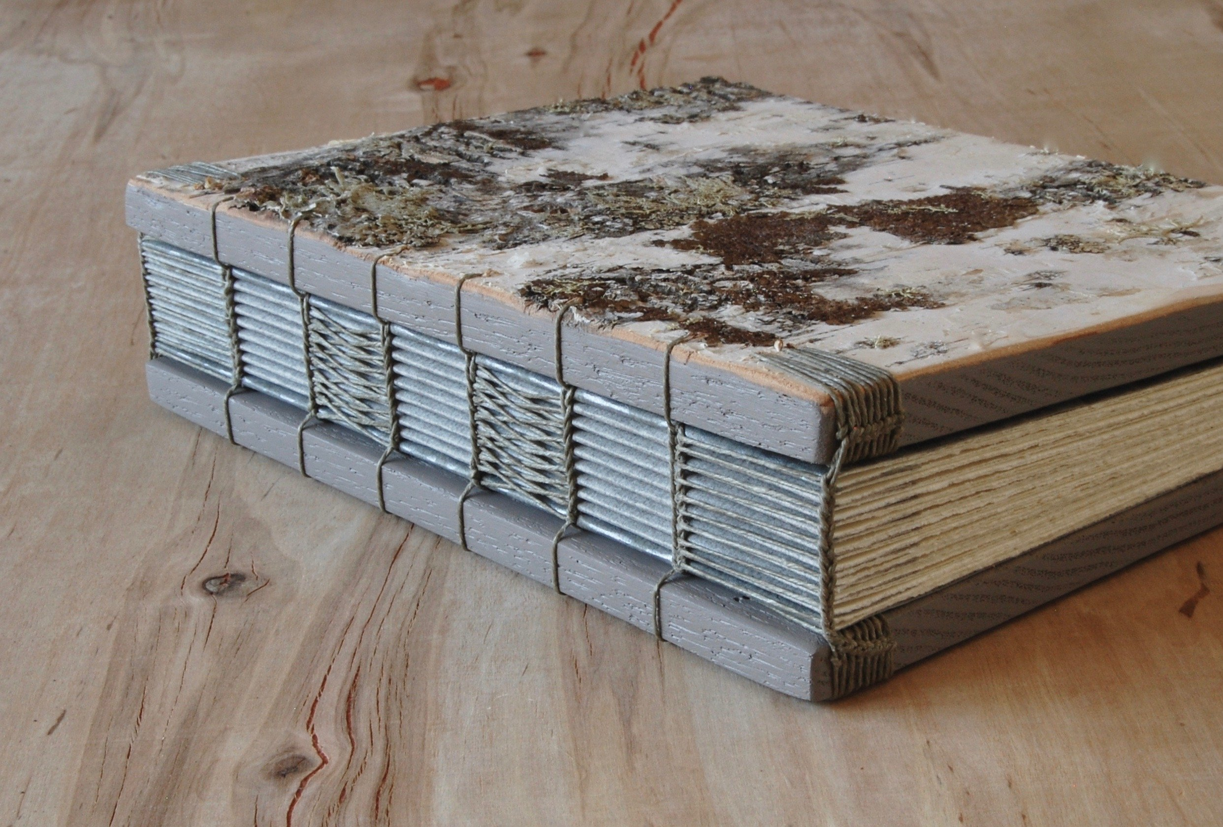 Handmade White Birch Wood Wedding or Vacation Home Guest Book by Three Trees Bindery