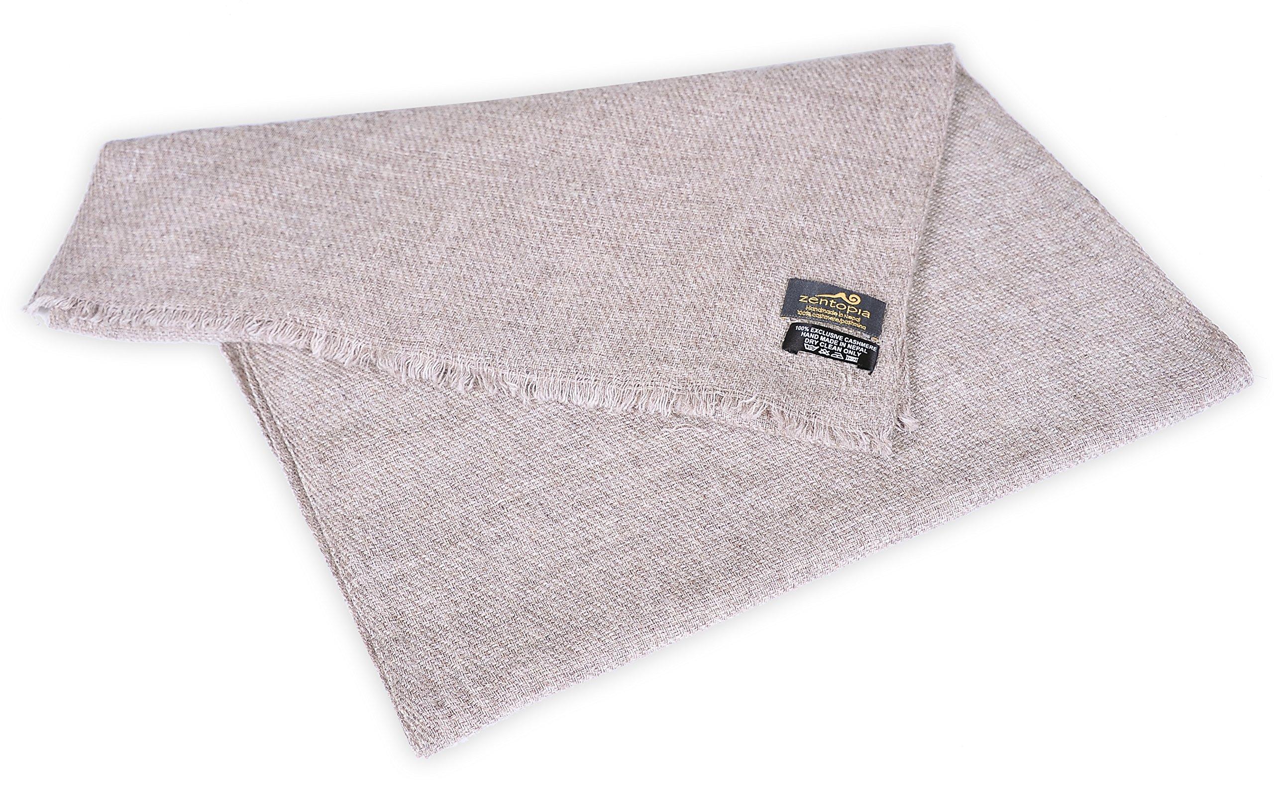 Zentopia classic 100% Grade A cashmere handmade scarf narrow cut light weight (Khaki) by Zentopia (Image #3)