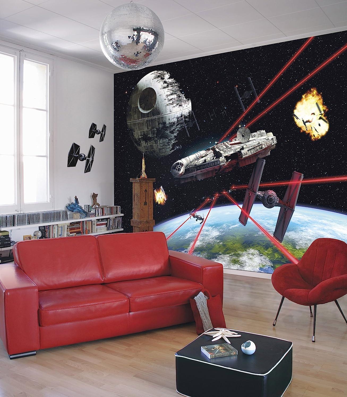 Vinilo Multicolor Papel Pintado de Star Wars: Millennium Falcon 8 Piezas Komar 1