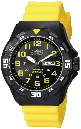 Amazon.com: Invicta Mens Coalition Forces Quartz Stainless Steel and Silicone Casual Watch, Color:Yellow (Model: 25328): Watches