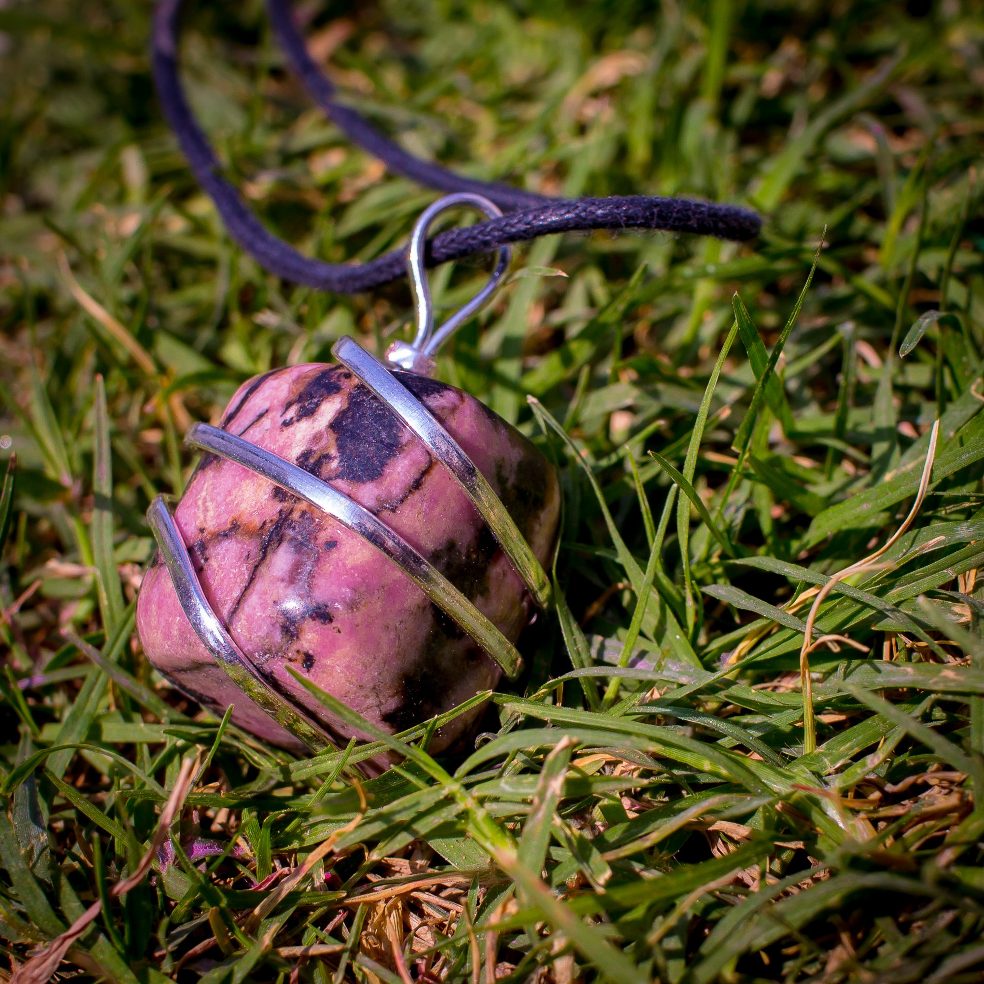 Rhodonite Crystal Pendant Necklace – Compassion Forgiveness Release of Fear Emotional Healing Heartbreak Relationships - Authentic Stone on Adjustable Length Cord - Real Gemstone Chakra Healing Charm by Ayana Wellness (Image #5)
