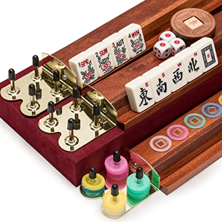 Yellow Mountain Imports American Mahjong Set, The Classic with Vintage  Rosewood Veneer Case - Four Wooden Racks, Wind Indicator, Dice, & Wright