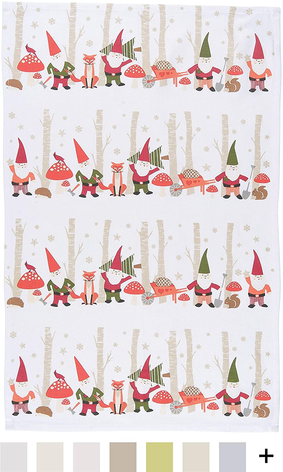 Now Designs Tea Towel, Gnomes Print