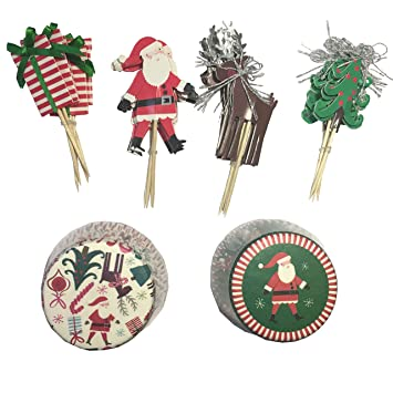 Elementos decorativos para magdalenas y cupcakes, incluye adornos y moldes de papel, diseño navideño