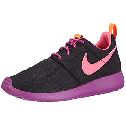 21f29ea72f21 NIKE Rosherun (GS) Girls Running Shoes 599729-007 Black Pink Power-Bold ...