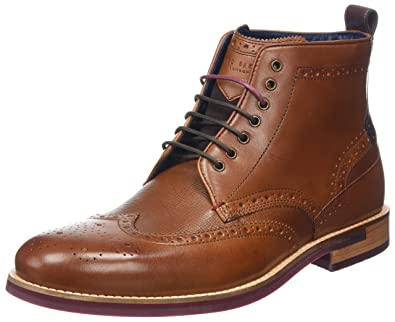 a568f3f0b46c Ted Baker Men s Hjenno Leather Lace Up Brogue Ankle Boot Tan-Tan-11