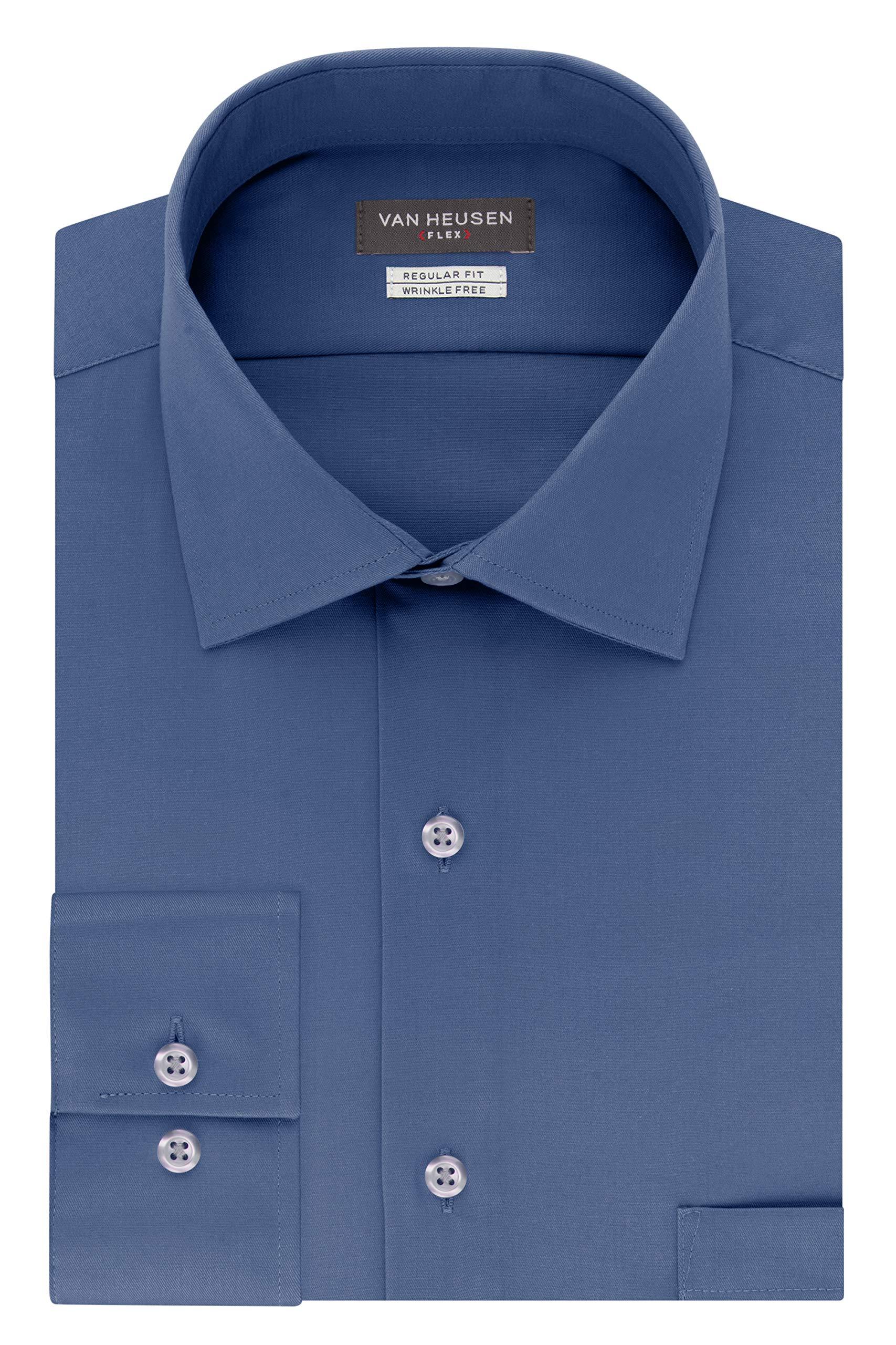 Van Heusen Men's Flex Regular Fit Solid Spread Collar Dress Shirt, Periwinkle, Dusty Blue, 16.5'' Neck 34''-35'' Sleeve