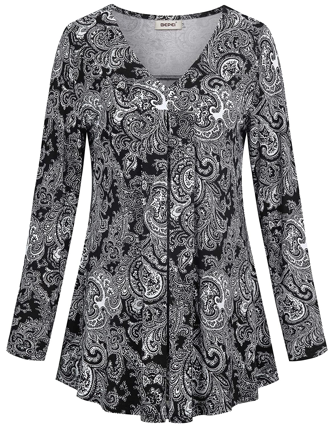 e4956c2f494 BEPEI Womens Long Sleeve V Neck Shirts Floral Casual Loose Flowy Tunic Tops  at Amazon Women's Clothing store: