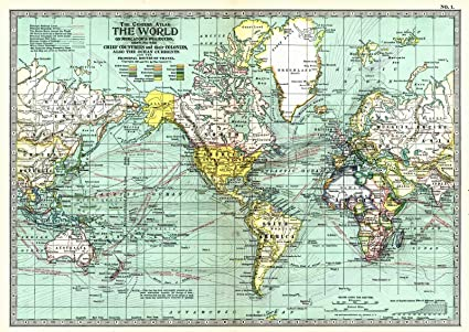 Amazon.com: Historic Map | 1913 The World on Mercator\'s Projection ...