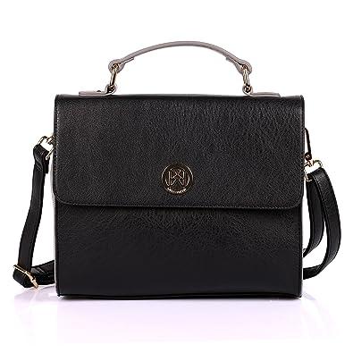 Karla Hanson Merry Women s Satchel Bag - Black Grey  Handbags ... 99583942261dc
