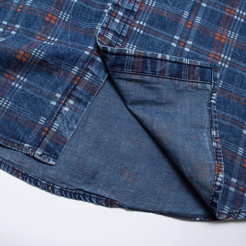 UEL-DJF1 Men Printed Shirt 100/% Cotton Casual Long Sleeve Plaid Shirt Male Social Business Dress Shirts