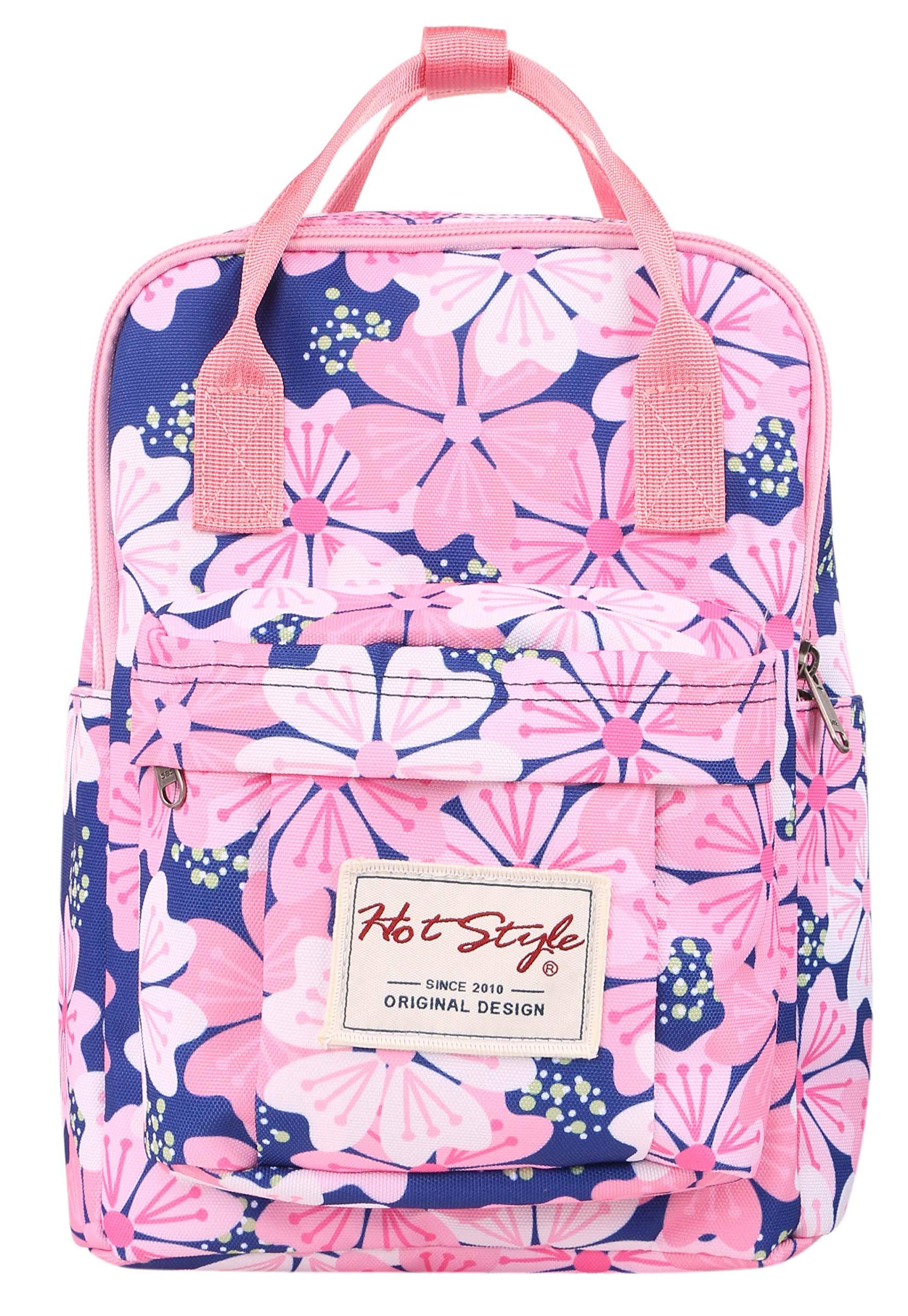 BESTIE 12'' Cute Mini Backpack Purse Travel Bag, Floral Pink