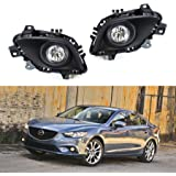 iJDMTOY Complete Set Fog Lights Foglamp Kit with Halogen Bulbs, Wiring On/Off Switch and Garnish Bezel Covers For 2014-2016 Mazda 6 (Excluding Mazda6 Grand Touring Trim)