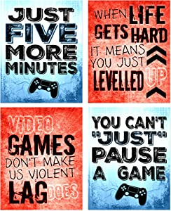 Funny Video Game Posters - Video Gaming Quotes Wall Art - Set of 4 Unframed (8x10 inches)Gamer Themed Decor - For Boy Bedroom Playroom Decorations, Gifts, and Birthday Party Decor - Set 1