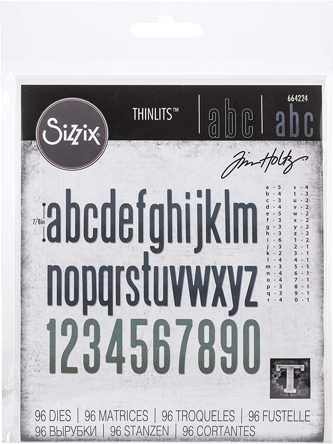 "Tim Holtz Sizzix Thinlits Die ~ ALPHANUMERIC 1/"" ~ Alterations 660210"