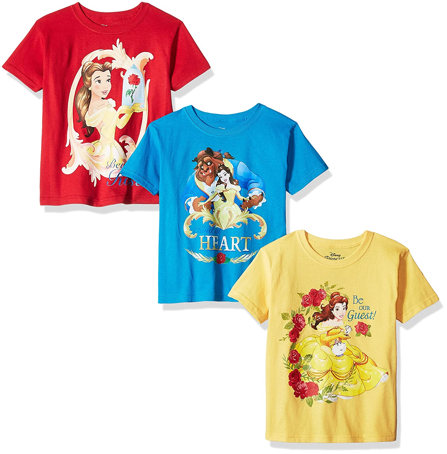 dae87dd98 Amazon.com: Disney Girls' Beauty and The Beast 3-Pack Short Sleeve T-Shirts:  Clothing
