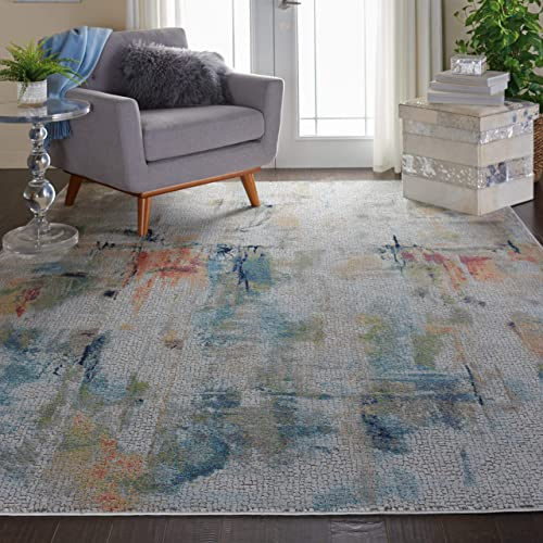 Nourison GLB09 Global Vintage Abstract Multicolor Area Rug 8 10 x 11 10 , 9 x 12 , Ivory Multi