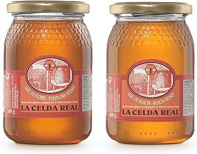 La Celda Real - 1 kg Miel Natural - Pack 2 sabores: Miel Acacia + Miel Polyflora/Multifloral - 100% Natural - Tarro de cristal - Origen España: Amazon.es: Alimentación y bebidas