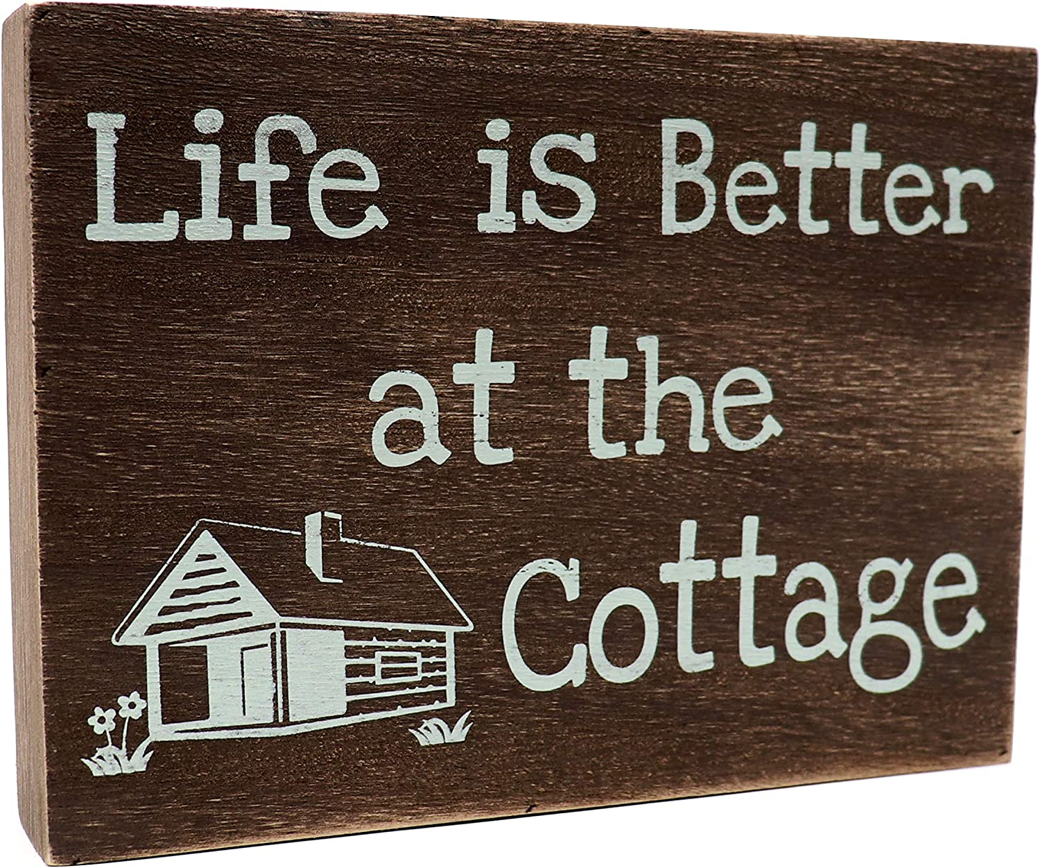 JennyGems - Life is Better at The Cottage - Wood Rustic Decorative Sign, Cottage Wall Art, Cottage Sign, Cottage Gift, Cottage Decor, Wood Sign, Shelf Knick Knacks