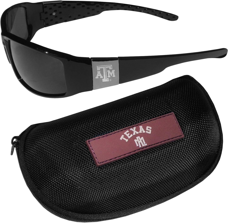 Siskiyou NCAA unisex Chrome Wrap Sunglasses and Zippered Carrying Case