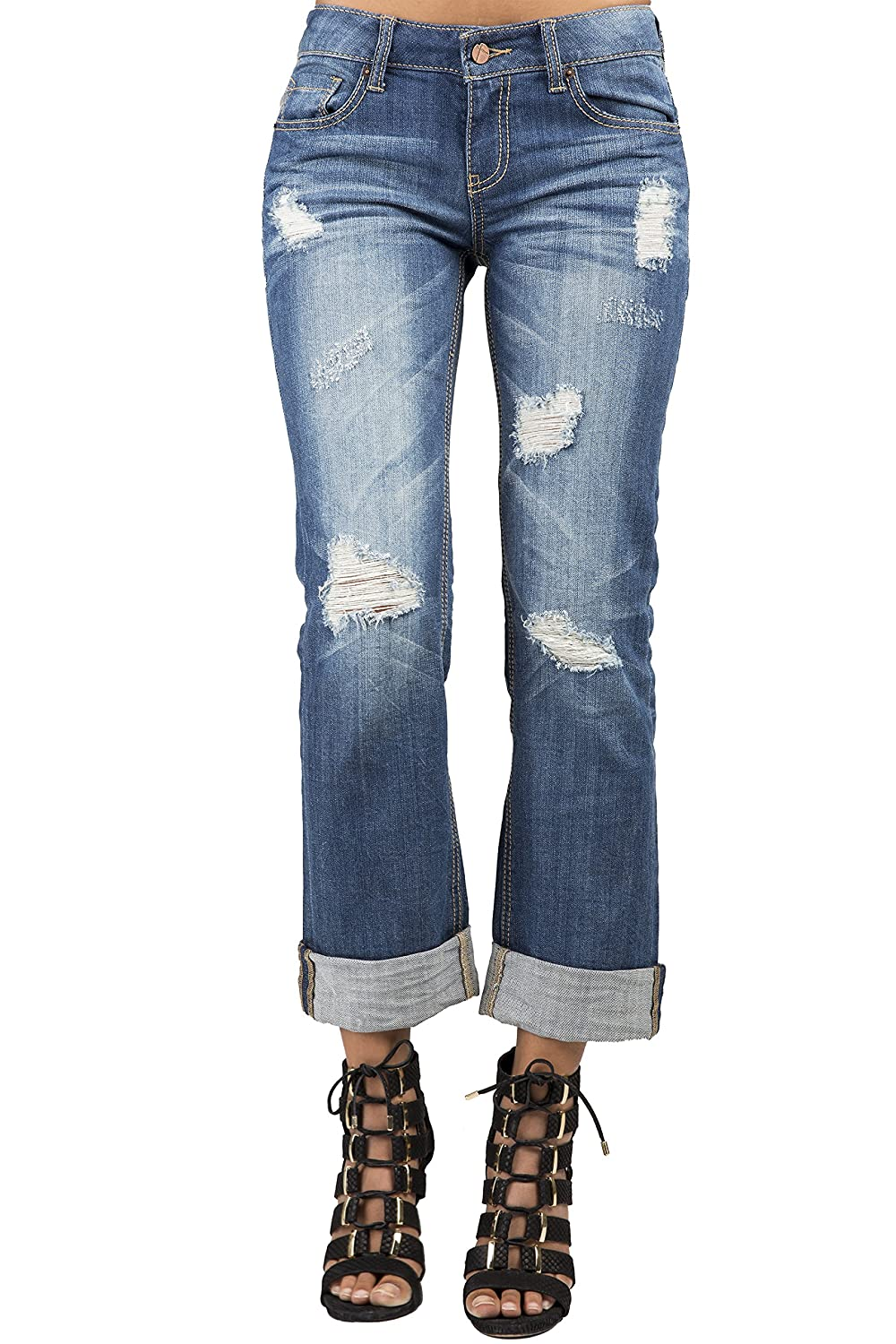 Standards & Practices Women's Light Blue Stretch Denim Destroyed Boyfriend Jeans