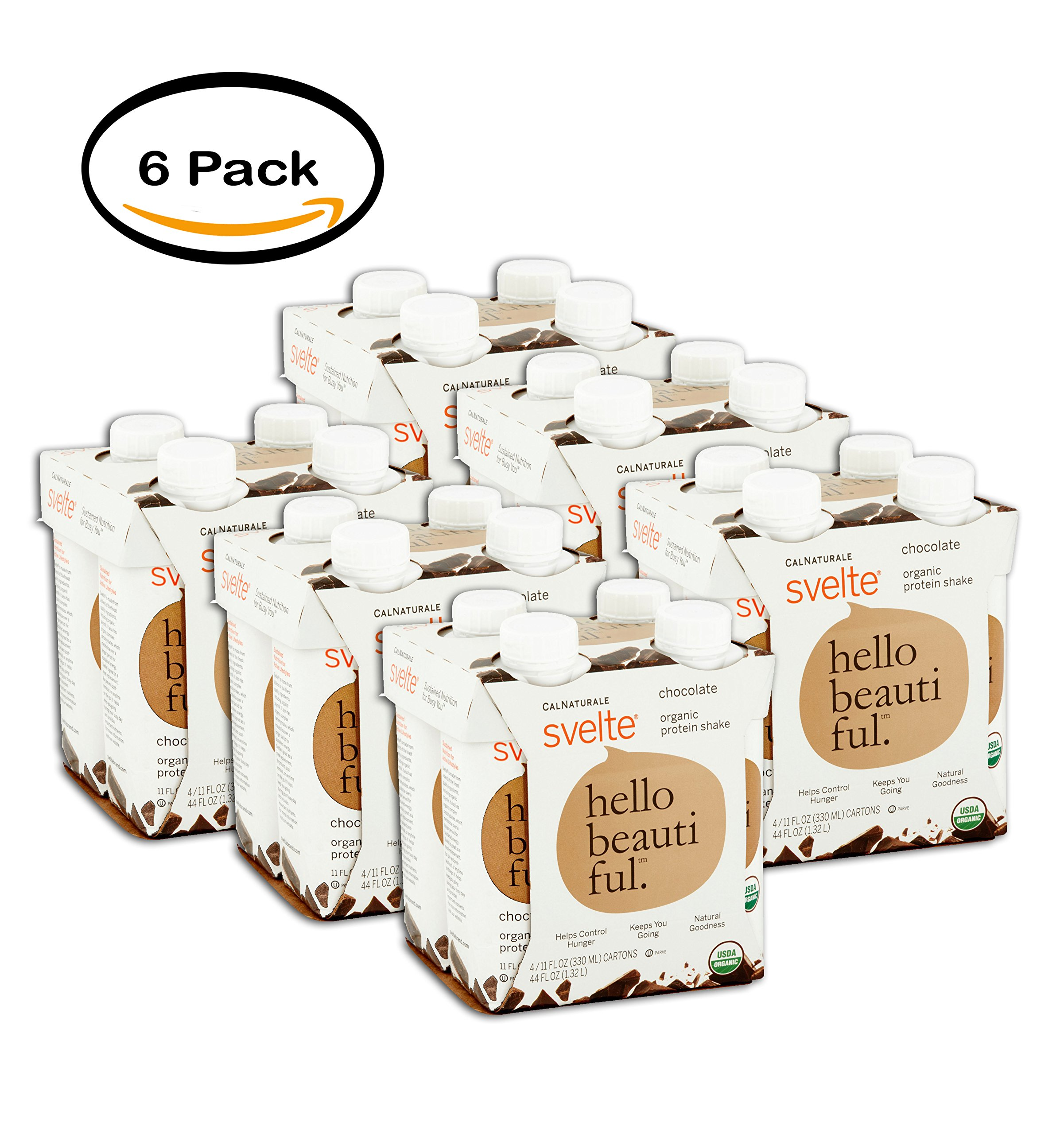 PACK OF 6 - CalNaturale Svelte Chocolate Organic Protein Shakes, 11 fl oz, 4 count