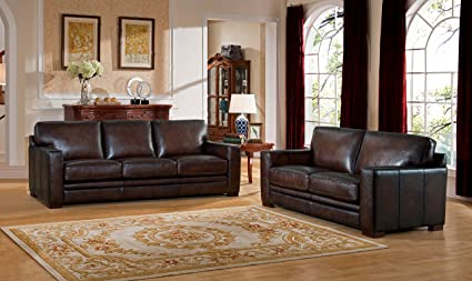 Merveilleux Amax Leather Chatsworth Genuine Leather Sofa And Loveseat, Brown