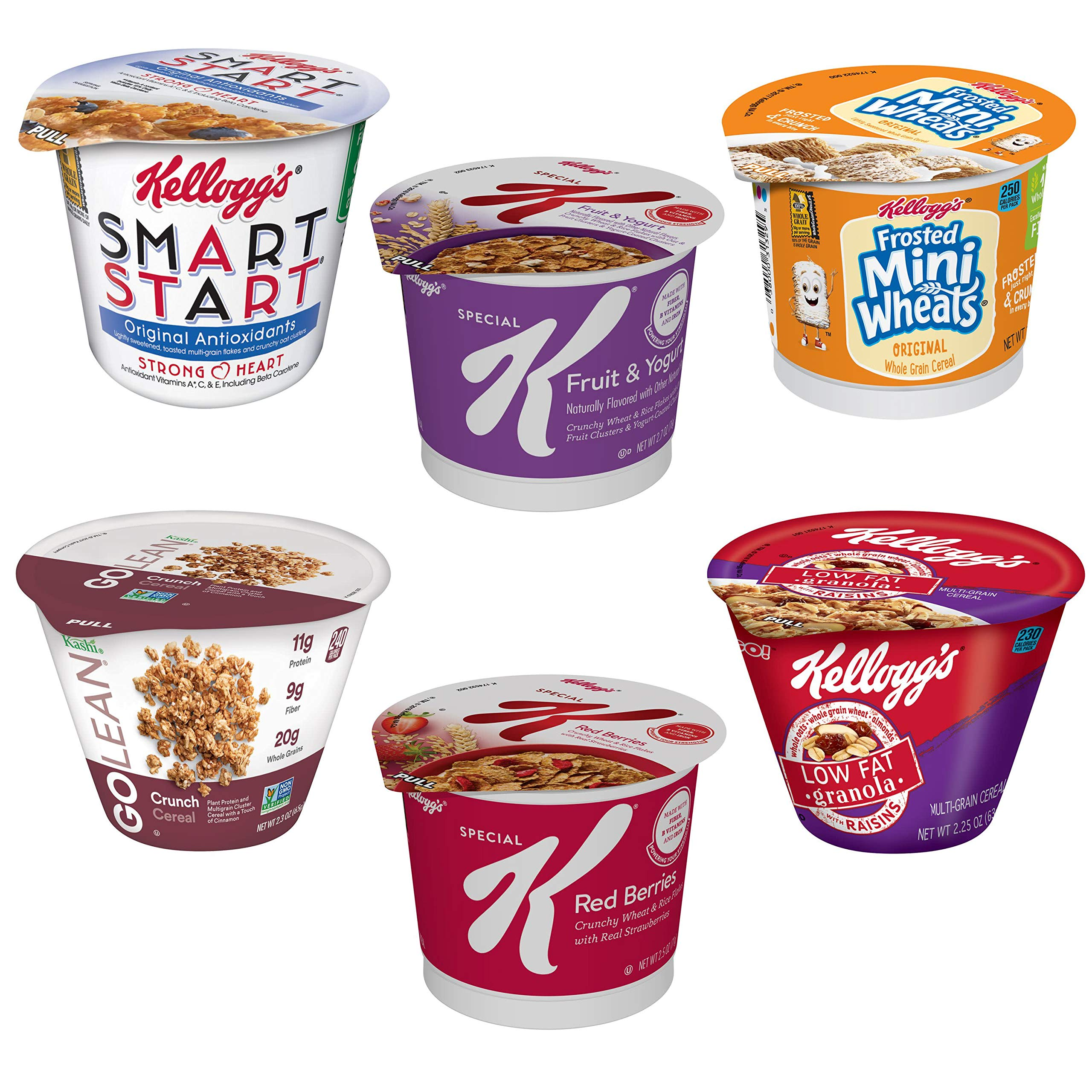 Kellogg's Cereal Cup Assortment Pack - Wellness (6 Flavors),Pack of 60 by Kellogg Cereal Variety (Image #4)