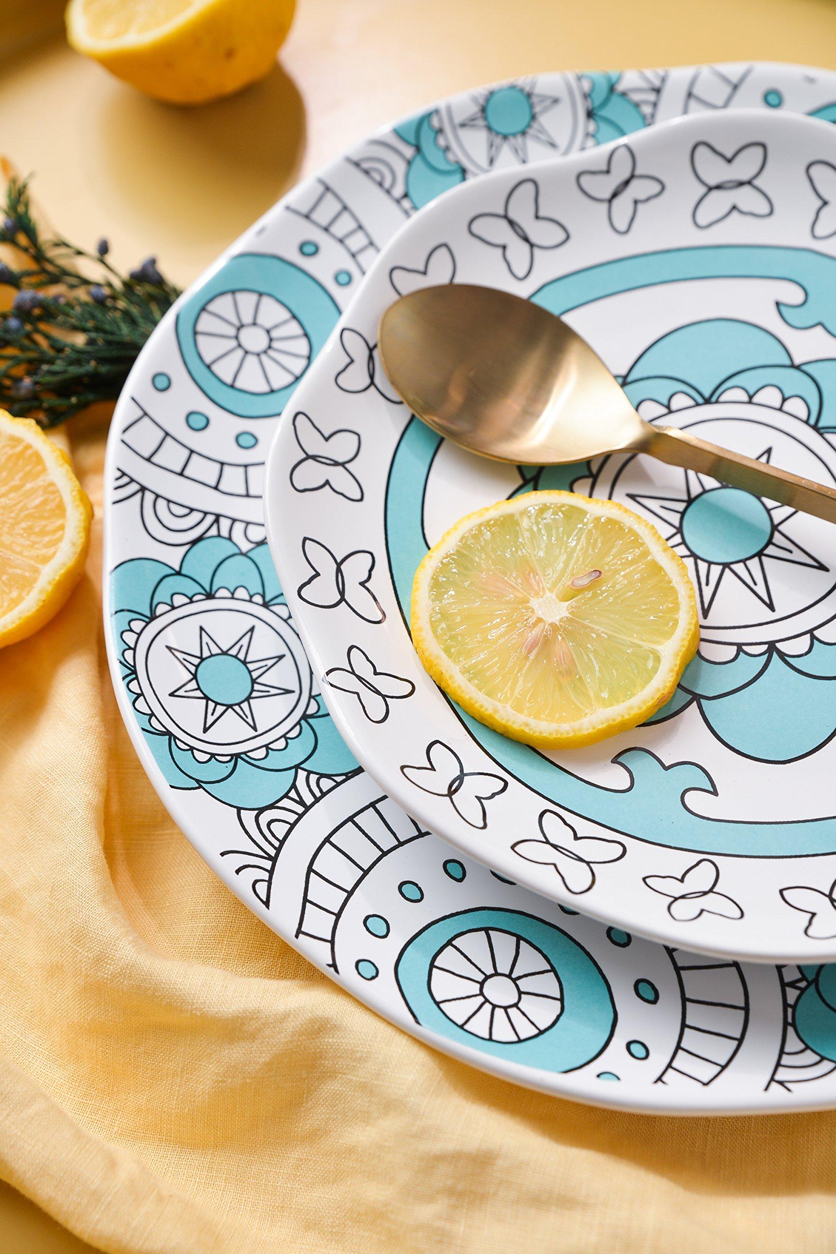 Dinner Plates Appetizer Salad Plate Set 4, Porcelain Mint Blue, Floral Pattern, Accent Serving Plates by LA JOLIE MUSE (Image #3)