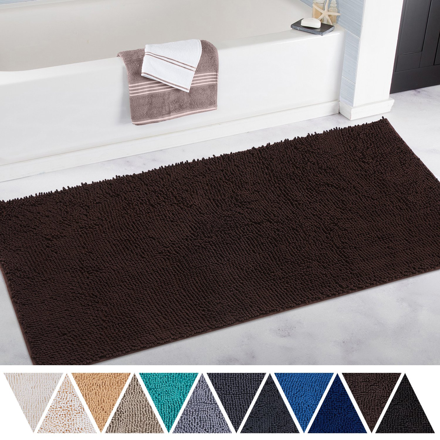 DEARTOWN Bath Mat Runner for Bathroom Rugs,Long Floor Mats,Extra Soft, Absorbent, Anti-Skid TPR Bottom,Machine-Washable, Perfect for Tub, Shower & Doormat(27.5X47 inch Brown)