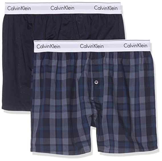 a6853ef2a90b Calvin Klein Men's 2 Pack Slim Fit Woven Boxers, Black at Amazon Men's  Clothing store: