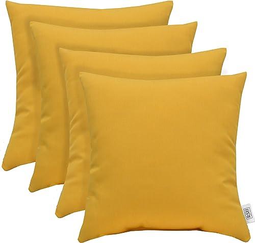 RSH D cor Set of 4 Indoor Outdoor Decorative Throw Pillows Sunbrella Canvas Buttercup Soft Yellow – Choose Size 20 x 20