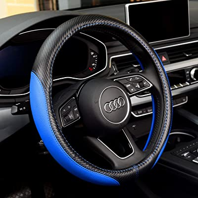 Labbyway New Microfiber Leather Steering Wheel Covers, Breathable, Anti-Slip, Odorless,Universal 15 inch (Blue): Automotive