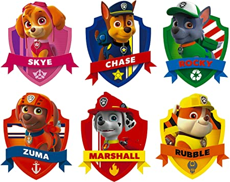 Solo Signs UK Paw Patrol Badge Set   6 Shield Wall Art Stickers Decals  Printed Vinyl