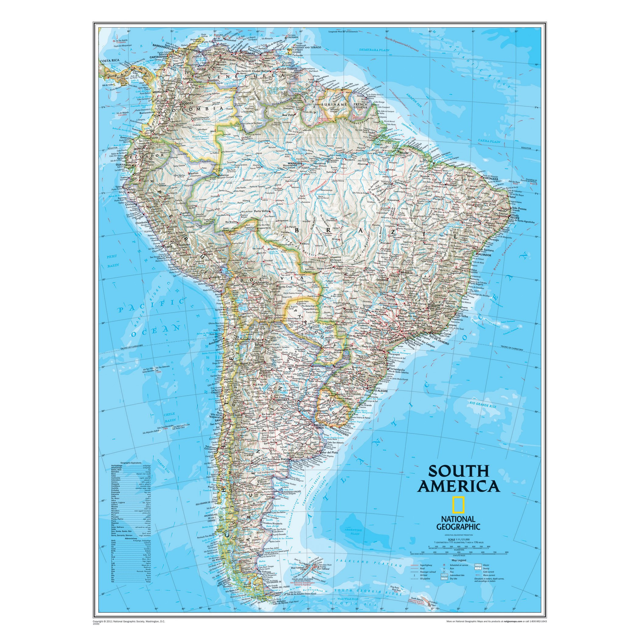 Cape Horn On South America Map.South America Classic Laminated National Geographic Maps