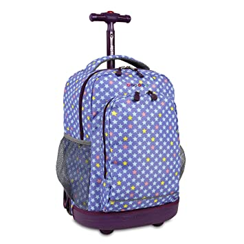 537f1fe3ea Image Unavailable. Image not available for. Color  J World New York Girls   Sunrise Rolling Fashion Backpack ...