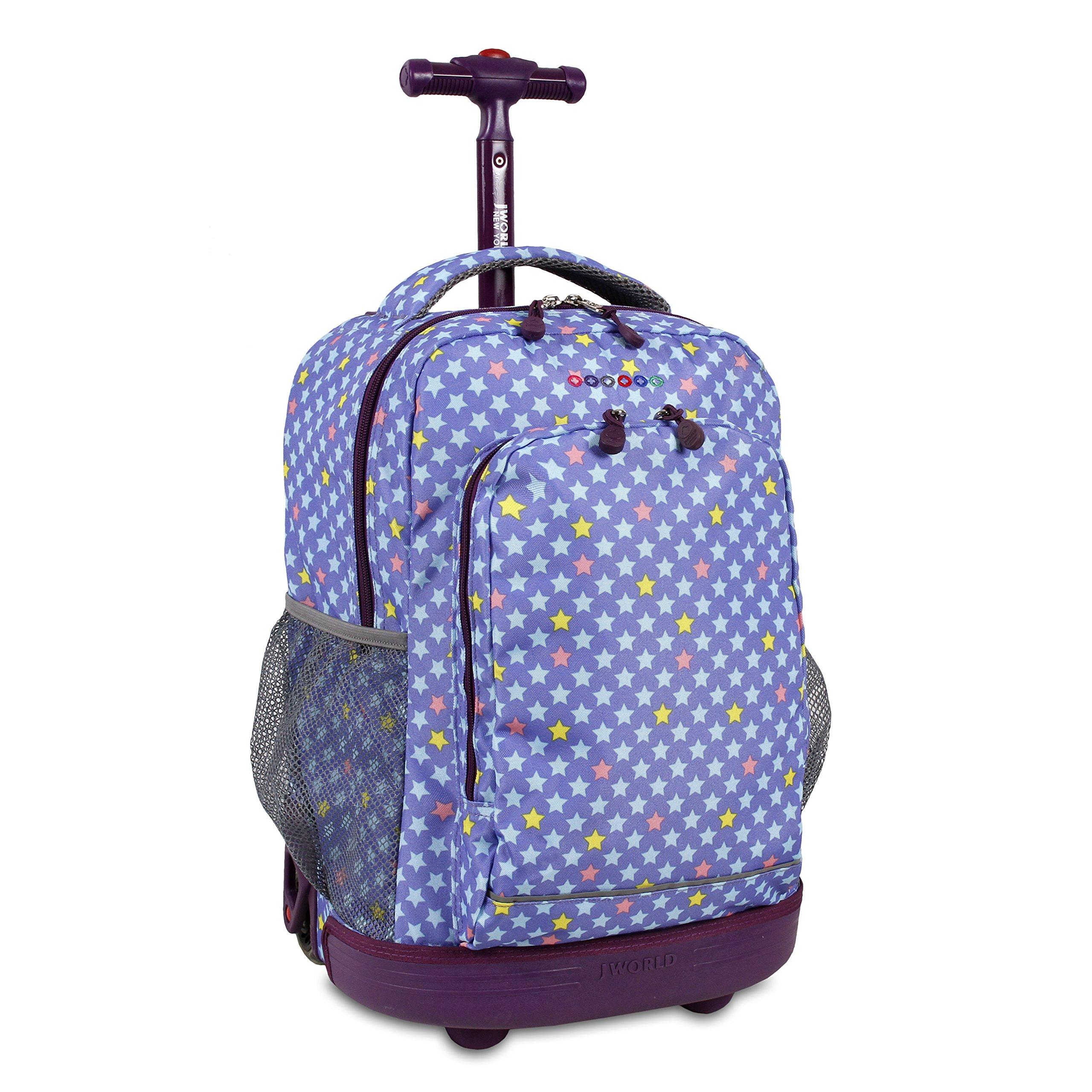 J World New York Girls' Sunrise Rolling Fashion Backpack, Stardust, One Size