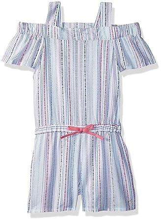 4a8a85aae Amazon.com  Calvin Klein Little Girls  Cold Shoulder Romper  Clothing