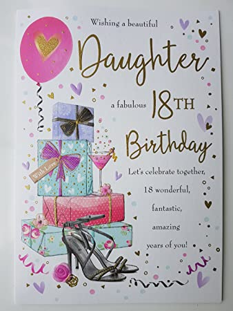 Wishing A Beautiful Daughter Fabulous 18th Birthday Large Card Lovely Verse Amazoncouk Kitchen Home