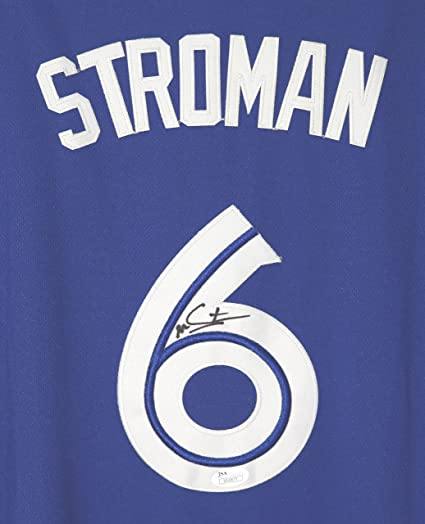 089add1b1b8 Image Unavailable. Image not available for. Color  Marcus Stroman Toronto  Blue Jays Signed Autographed Blue  6 Jersey ...